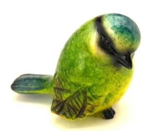 Ceramic Figurine Bird Bluebird Multicolored Excellent Work Handmade