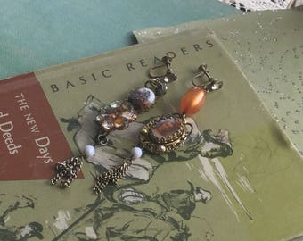 Upcycled mismatched assemblage earrings~ultimate junk gypsy earrings~duster earrings