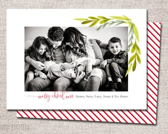 Christmas card, Photo Christmas card, Holiday Card, Printable Christmas card, Modern Christmas card: PRINTABLE (Garland Border)