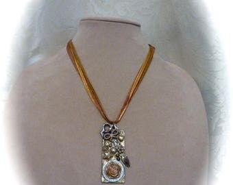 HUGE SALE SALE - Steampunk Pendant Necklace Mixed Media Found Object with Key