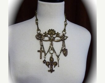 HUGE SALE French Motif OOAK Repurposed Escutcheon Choker Necklace in Antique Bronze with Charms -Cross, Fleur-de-lis, Lion and Knight