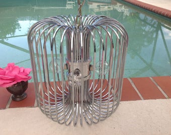 SCIOLARI CHROME BIRDCAGE CHANDELIEr / Mid Century Modern Gaetano Sciolari Chrome Chandelier / Chrome Pendant Chandelier at Retro Daisy Girl