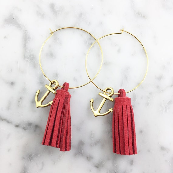 Hoop red glands tassels earring, anchor, ring, gold color ring, nickel free, triangle, 3,5cm, les perles rares
