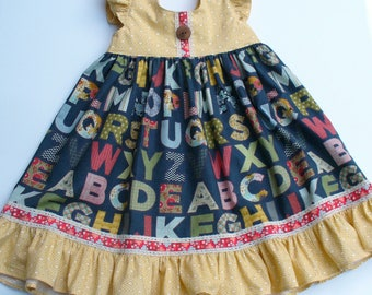 Girls Back to School Dress,ABC Dress,Toddler Dress,Girls Dress,Girls Clothing,Little Girl Dress,Blue,5T RTS,Moda PB&J,2T,3T,4T,5T,6