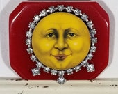 Man in the moon  Full moon  Moon brooch  I love you to the moon and back   Celestial jewelry  Sun and moon  Moon face  Moon face brooch Moon