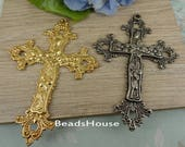 1pcs High Quality large Cross Golden Plated / Antique Silver Pendant Charm- Nickel Free
