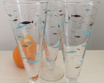 LIBBY PILSNER FISH Glasses, Turquoise and Silver,  Mid Century, Atomic, Parfait Glasses, Atomic Fish Glassware at Modern Logic
