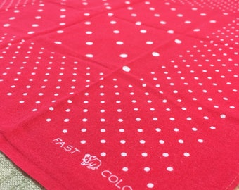 1930's Elephant Trunk Down Red Polka Dot Bandana 16x16.5 Small Color Fast all cotton selvedge worn in soft hemmed #69