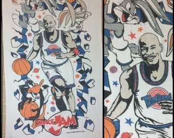 1990's Michael Jordan Space Jam Looney Tunes Bugs Lola Bunny Daffy Duck  cartoon character beach towel all cotton basketball Tune Squad