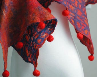 Hand felted scarf in blue, red