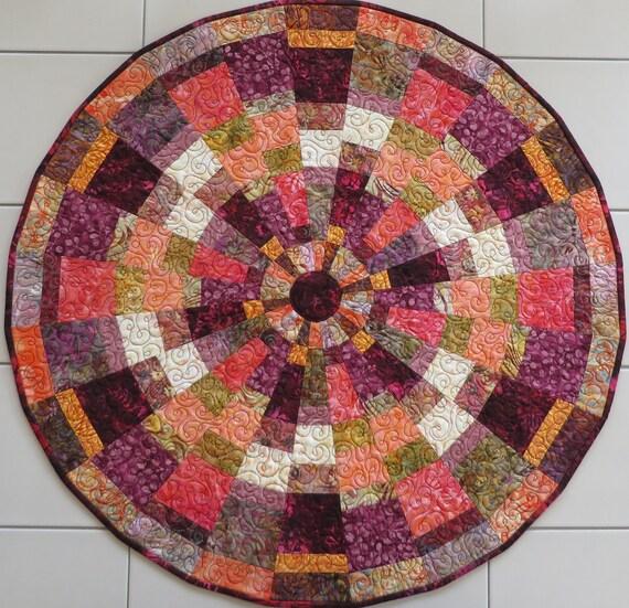 Quilted Batik Round Tablecloth Centerpiece Peach Crimson Gold