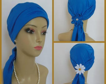 "Jersey Scarf Turban Satin Royal Blue 14"" Ties, Volumizer Chemo Headwear, Cancer Patient Hat, Alopecia Head Cover, Tichel Mitpachat,Beach Cap"
