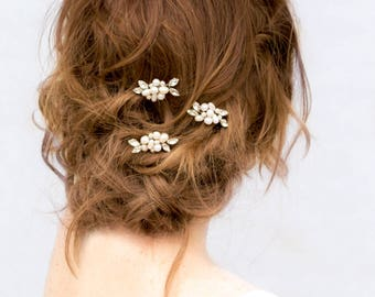 "Beaded Hair Comb, Pearl Hair Accessories, Bridal Accessories - ""Lela"" Pearl and Rhinestone Beaded Hair Pin"
