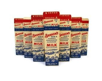 10 Vintage Advertising Milk Cartons  /  Vintage Kitchen Decor  /  New Old Stock Packaging  /  Food Photography  /  Stage or Film Prop
