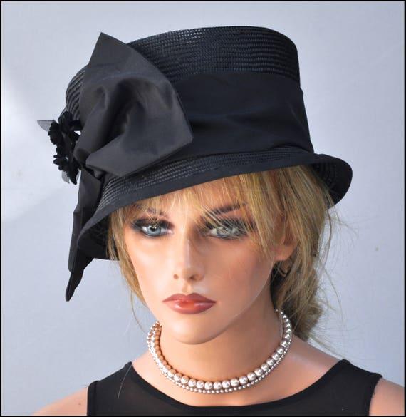 Ladies Black Hat, Formal Black Hat, Kentucky Derby Hat, Cocktail Hat, Ascot Hat, Funeral Hat, Mourning Hat, Wedding Hat Fancy Hat Dressy hat
