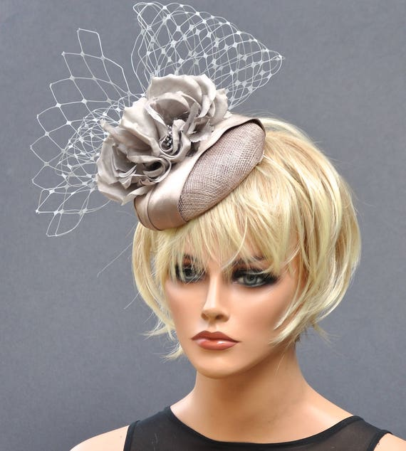 Derby Fascinator, Kentucky Derby Fascinator, Taupe Fascinator, Wedding Hat, Wedding Fascinator, Ascot Hat, Occasion hat