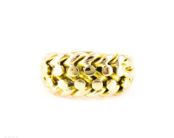 Antique 18ct Keeper Ring, Wide Braided Yellow Gold Women's Band. Circa 1890s - 1910, Size I.25 / 4.5.