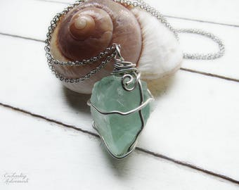 """Renewal .:. OOAK Green Fluorite Gemstone crystal wire wrapped pendant necklace -- with aged silver,  extra long 26"""" chain, heart chakra"""