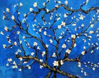 Almond Blossom Study, Spring Painting, Flowering Trees, Van Gogh Inspired, Spring Flowers