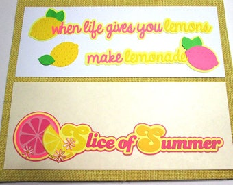 Paper pieced Title – Your choice of Summer Lemon theme Titles - die cuts, embellishment, scrapbook title