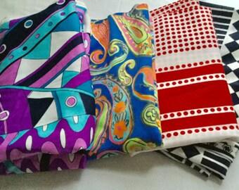 4 Piece of Vintage Multi Colored Fabric
