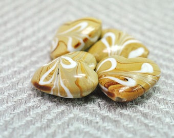 Heart Bead, Lampwork Heart, Glass Bead, Lampwork Bead, Cream Bead, Tan Bead, 3-D Heart, Heart Pendant, Destash Bead, Puffy Heart