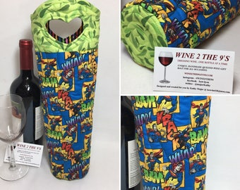 Superman DCComics Wine Bag Wine Tote Wine Gift Bag Quilted Hostess Gift