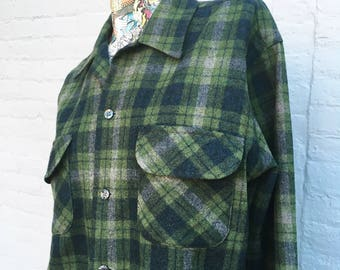 Vintage 60s Pendleton Plaid Wool Shirt  size medium M green blue