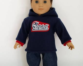 American Doll Girl or Boy New England Patriots Hoodie and Jeans, Made in USA