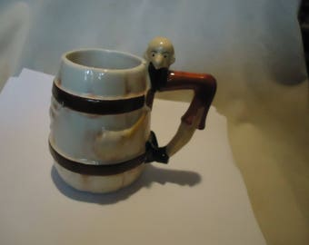 Vintage Occupied Japan Mug With Longhorn On Front and Cowboy Hanging On, collectable