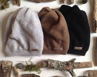 Camel wool blend double layer knitted beanie hat