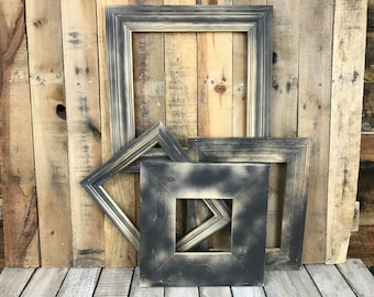 ON SALE - Unpainted Picture Frame Set of 4, Rustic Set, 6x6, 2-8x10, 12x12 Photo Frame, Gallery Frame Set, Lot 254