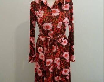Clear Out Sale Vintage 1970s Globe Traveler Long Sleeve Polyester Floral Day Dress, Rockabilly Dress, Fall Dress, Size Large, #61791