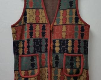 Clear Out Sale VINTAGE 1970's Knit Vest, Aztec Print Vest, Sweater Vest, Brown/Green/Yellow/Navy/, Size 42 Bust, #63324