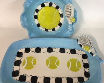 Tennis Snack plate and bowl set