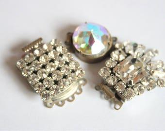 Vintage crystal clasps. Necklace clasps. Rhinestone clasps.   Aurora borealis