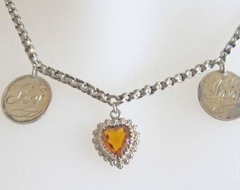 Antique Victorian Love Token Coins and Topaz Crystal Puffy Heart Charm Sterling Silver Necklace