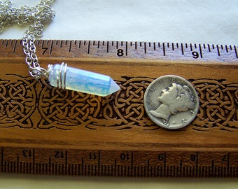 Opalite Iridescent Crystal  Wire Wrapped Pendant
