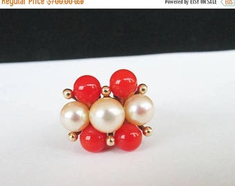 For Sale Vintage Estate  Ming's of Honolulu Red Coral  with High Luster White Pink Toned Pearl  Ring