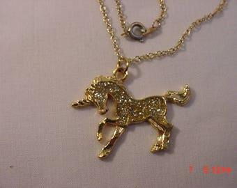 Vintage Genuine Diamond Dust Unicorn Pendant Necklace  17 - 782