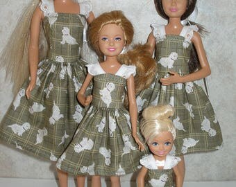 Handmade Fashion Doll clothes for Barbie and her sisters - 4 Fashion Doll Sisters Set -  olive green and white dog print dresses