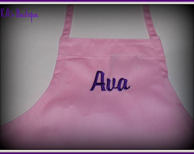 Child size personalized apron - Kid personalized apron - Embroider apron - children apron -  Birthday party apron - party favor aprons - kid