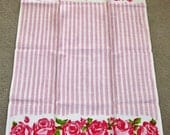 Vintage Linen Pink Striped Pink Red Roses Stamped Design Towel Made In Poland Circa 1960's NEVER USED Still Has Labels