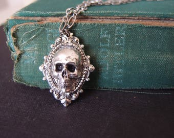 aged silver plated brass skull gothic necklace, neo Victorian, haunted,darkness