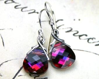 ON SALE Swarovski Briolette Crystal Earrings in Volcano - Handmade with Swarovski Crystal and Sterling Silver Earwires