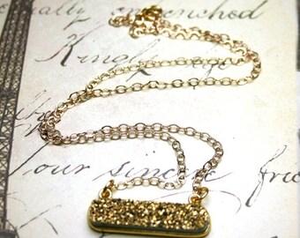 ON SALE Gold Druzy Quartz Bar Pendant - 14K Gold Filledrand Sparkling Gold Druzy Stone Modern Necklace - Minimalist Bar Pendant