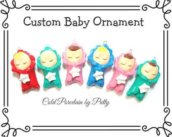 Custom Cold Porcelain Baby in a Blanket First Christmas Ornament, Personalized Clay Baby Ornament, Baby Boy Ornament, Baby Girl Ornament