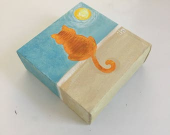 Orange Cat on a Wall-  4x4 Daily Doodle Mini acrylic Painting