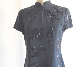 Vintage Liz Clairbone Cheongsam Traditional Asian Black Sequins and Beaded Top Blouse Fashion Mandarin Collar