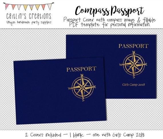 Compass passport template girls camp 2018 5x7 instant compass passport template girls camp 2018 5x7 instant download custom passport template digital print pronofoot35fo Image collections